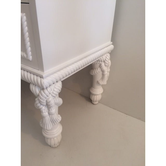 1960s 1960s Hollywood Regency White Commode With Tassel Legs For Sale - Image 5 of 13