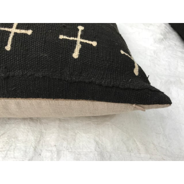 African African Mali Tribal Cross Patterned Mud Cloth Pillows- A Pair For Sale - Image 3 of 10