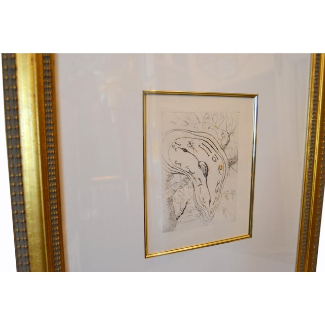 "Gold Framed Salvador Dali Inspired ""Melting Clock"" Etching Print For Sale In Miami - Image 6 of 13"