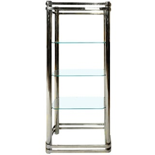 Chrome and Glass Etagere by Pace Collection For Sale