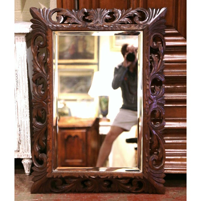 19th Century French Louis XIII Carved Oak Overlay Beveled Glass Wall Mirror For Sale - Image 9 of 9