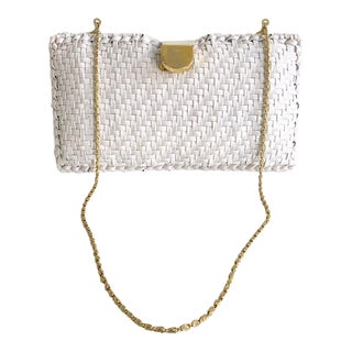 Vintgae 1960's Magid White Wicker Woven Style Clutch With Brass Chain