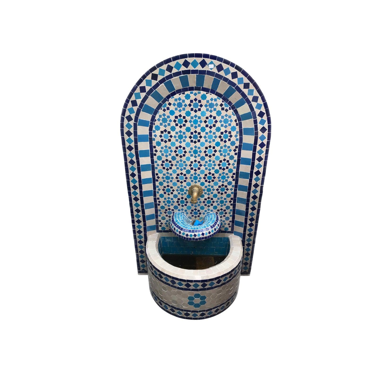 Moroccan Zelij Tile Wall Fountain Chairish