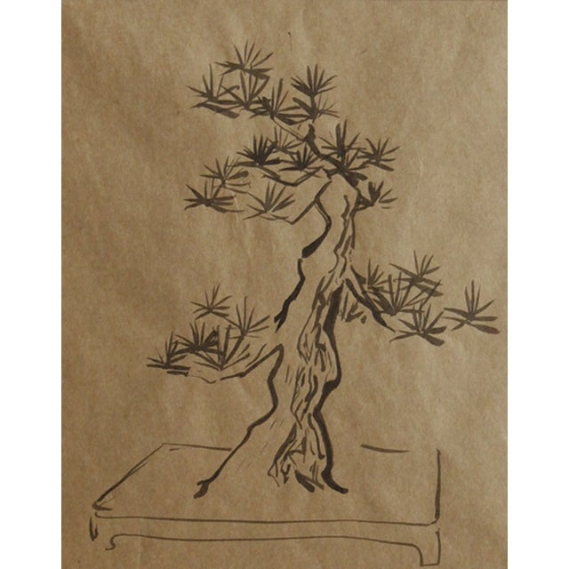 An engaging brush and ink drawing of a bonsai tree in a planter. From the estate of Marion Allen, circa 1940. Information...