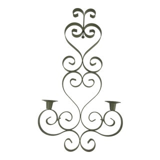 1990s Italian Green Painted Wrought Iron Candle Sconce For Sale