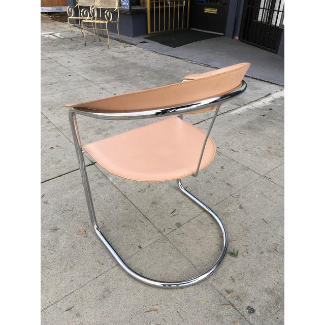 Arrben of Italy Chrome & Nude Leather Canasta Chair For Sale - Image 9 of 9