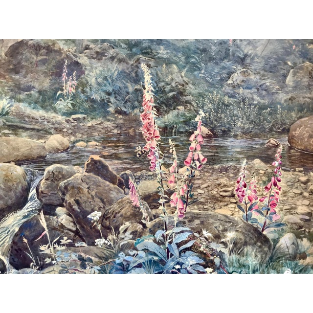 "Farmhouse Joseph Addey ""Fox Gloves"" English Landscape Painting 19th Century For Sale - Image 3 of 6"