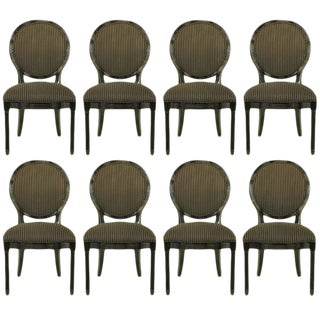 Eight Rare Jay Spectre Black Lacquer Dining Chairs For Sale