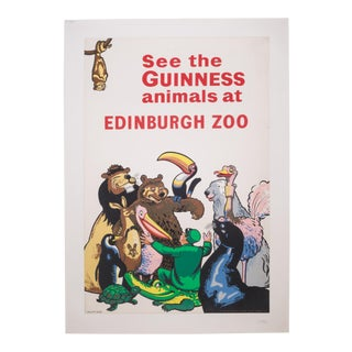 Antique Guiness Beer/Ediburgh Zoo Poster C.1940 For Sale