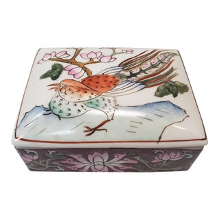 Mid 20th Century Chinese Famille Rouge Porcelain Bird/Floral Motif Trinket Box For Sale