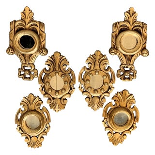 Set of Six Spanish 1920s Rococo Style Carved Gold Leaf Giltwood Mirrors For Sale