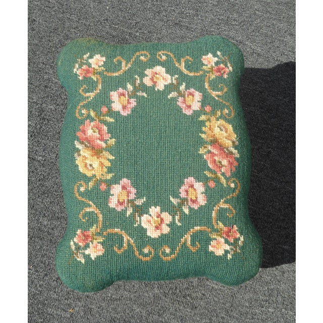 1950s Vintage French Provincial Green Needlepoint Footstool W Ornate Cast Iron Base For Sale - Image 5 of 12