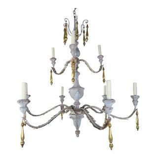 Monumental Ten Light Italian Painted Chandelier W/ Gold Leaf Tassels For Sale