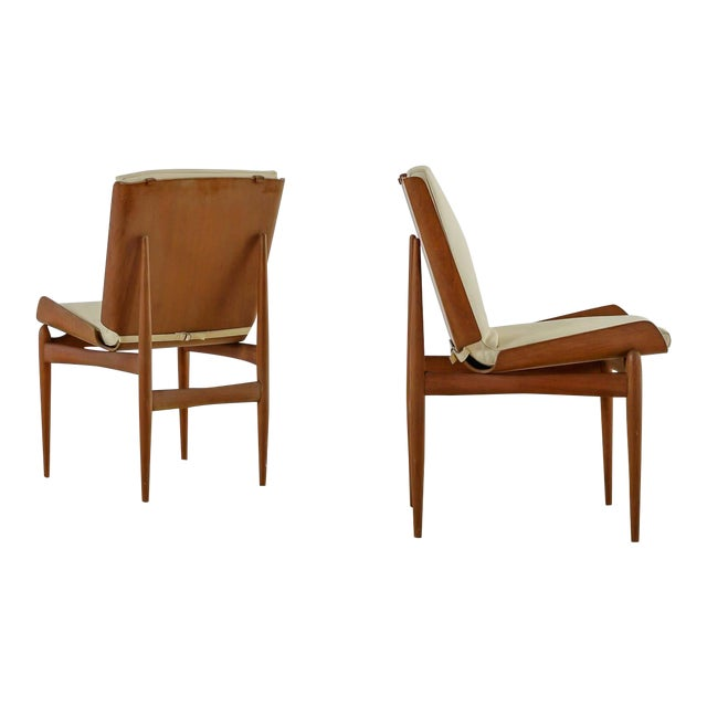 Pair of Folded Plywood and Leather Italian Side Chairs, 1950s For Sale