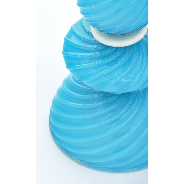 Italian Murano Glass Turquoise Lamps For Sale - Image 3 of 10