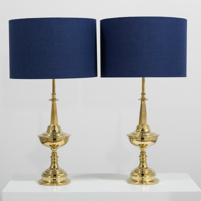 Stiffel Pair of Polished Brass Stiffel Designed Table Lamps Usa 1950s For Sale - Image 4 of 4
