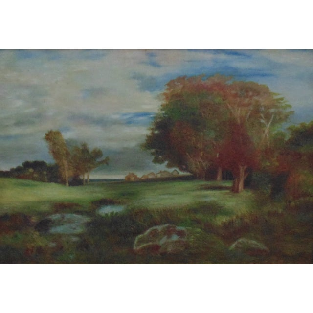 FREE SHIPPING ANYWHERE IN THE CONTINENTAL US! This is a bright and peaceful landscape painting with colorful trees, green...