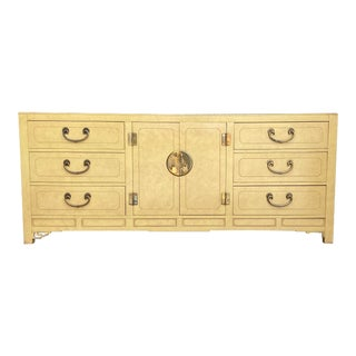 Mid 20th Century White Fine Furniture Asian Medallion Lowboy Dresser For Sale