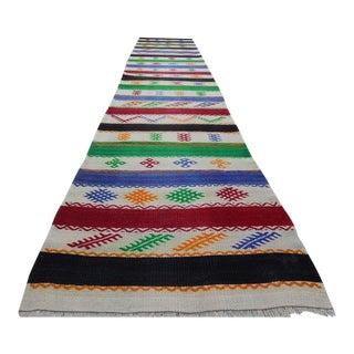 1970s Vintage Handmade Turkish Aztec Kilim Rug Runner - 2′8″ × 12′6″ For Sale