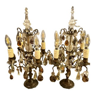 Pair of Antique Baccarat Crystal & Murano Glass Girandoles - Table Chandeliers For Sale