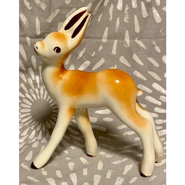 1950s Vintage Children's Ceramic Long Eared Deer For Sale - Image 9 of 9