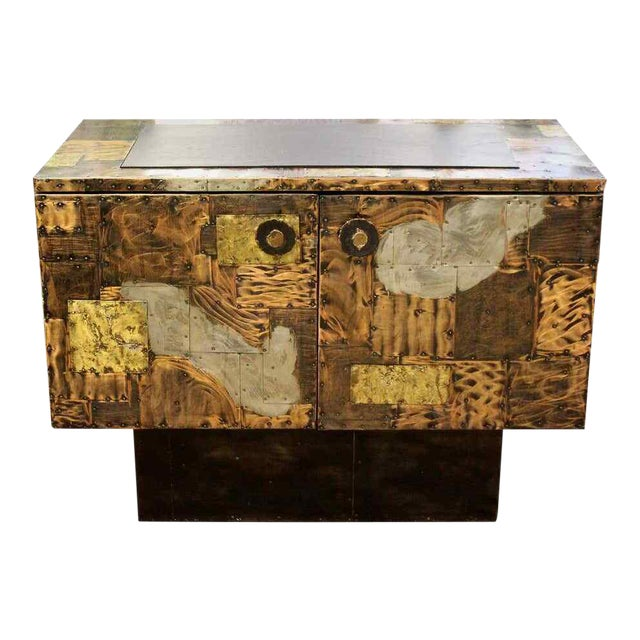 Mid Century Modern Paul Evans Directional Slate Top Copper Patchwork Cabinet 1960s For Sale