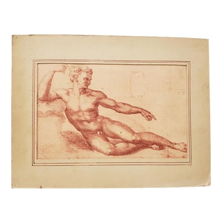 "Antique ""Creation of Adam"" Lithograph, Late 19th to Early 20th Century For Sale"