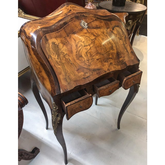Inlay Marquetry Bombay Desk / Secretary For Sale - Image 4 of 10