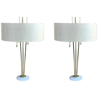 Brass Tripod Lamps in the Style of Robsjohn-Gibbons - a Pair