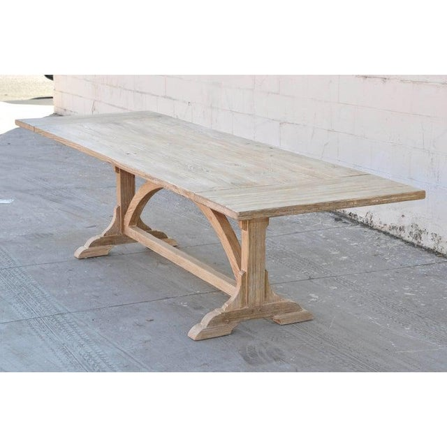 "This custom farm table made from reclaimed pine is seen here in 84"" x 36"" x 30"", expanding to 114"" x 36"". Each table is..."