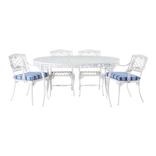 Brown Jordan Neoclassical Style Aluminum Garden Dining Set For Sale