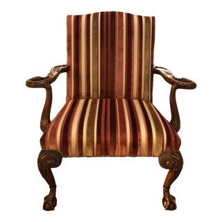English Armchair With Ball Feet and Carved Base For Sale