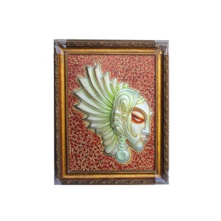 European Glass Angel Face Wall Art For Sale