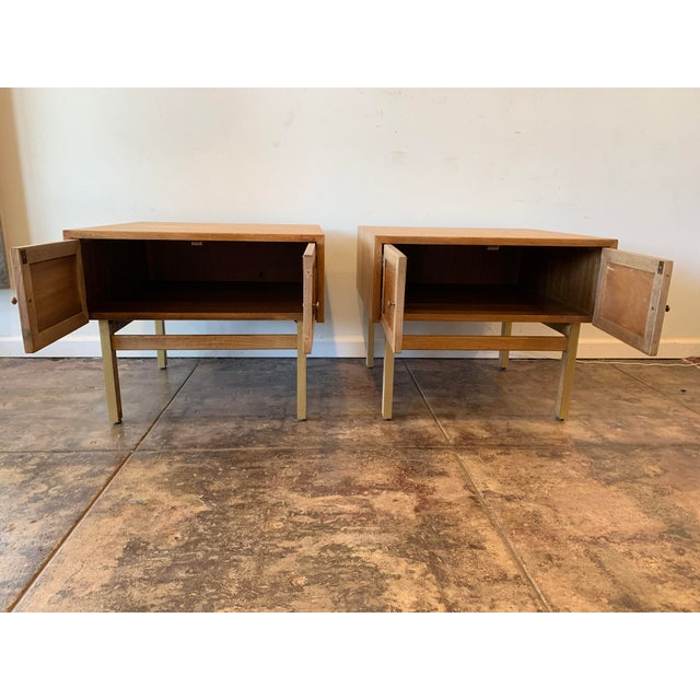 1950s Mid Century Modern Brass and Caned End Tables -a Pair For Sale In Los Angeles - Image 6 of 9
