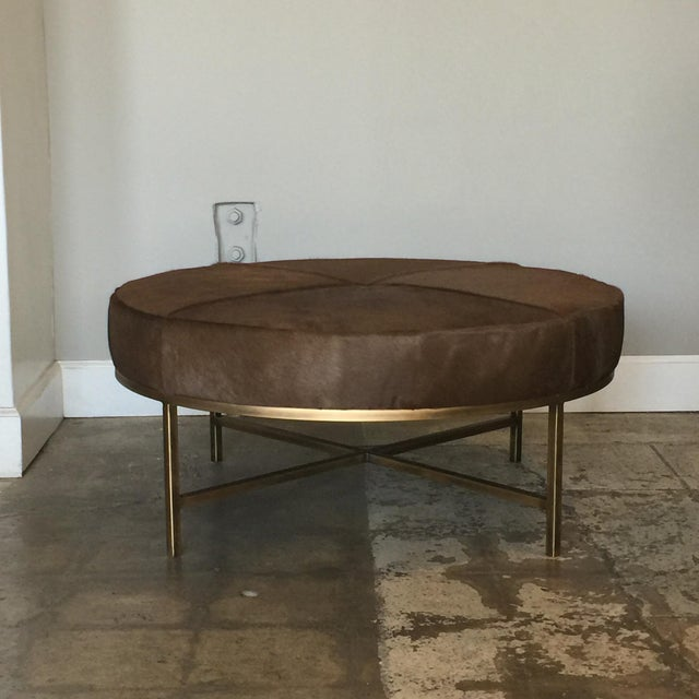 Animal Skin Medium 'Tambour' Antiqued Brass and Hide Ottoman by Design Frères For Sale - Image 7 of 7