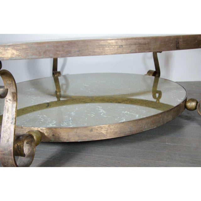Scroll Leg Mid-Century Modernist Table by Arturo Pani in Bronze and Églomisé For Sale In New York - Image 6 of 7