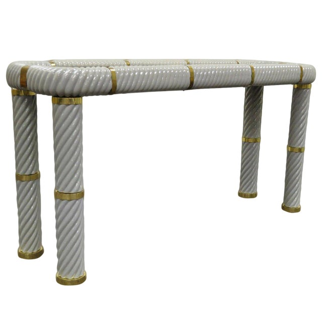 1970s Hollywood Regency Tommaso Barbi Porcelain Brass Glass Spiral Grey Console Table For Sale