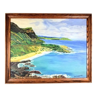 Vintage Mid-Century Tropical Island Seascape Signed Painting For Sale