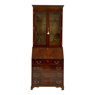 Vintage Federal Flame Mahogany Secretary Desk & Hutch For Sale
