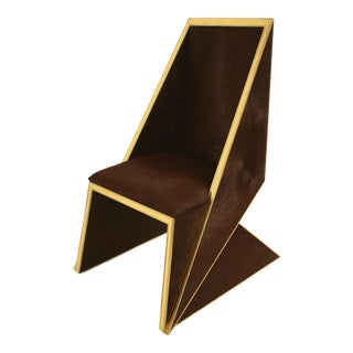 Two Toned Hide Dinning Chair by MarGian Studio For Sale