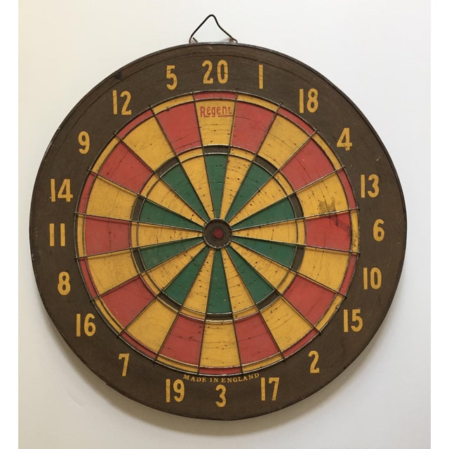 Vintage English dart board, Made In England by Regent. Traditional darts on one side and American Baseball on the other...