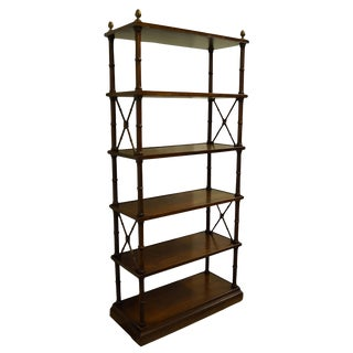"""Brandt Furniture Hagerstown, MD Asian Inspired Faux Bamboo 34"""" Etagere / Bookshelf 3785 For Sale"""