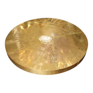 Spectacular Round Etched Brass and Agate Cocktail Table For Sale