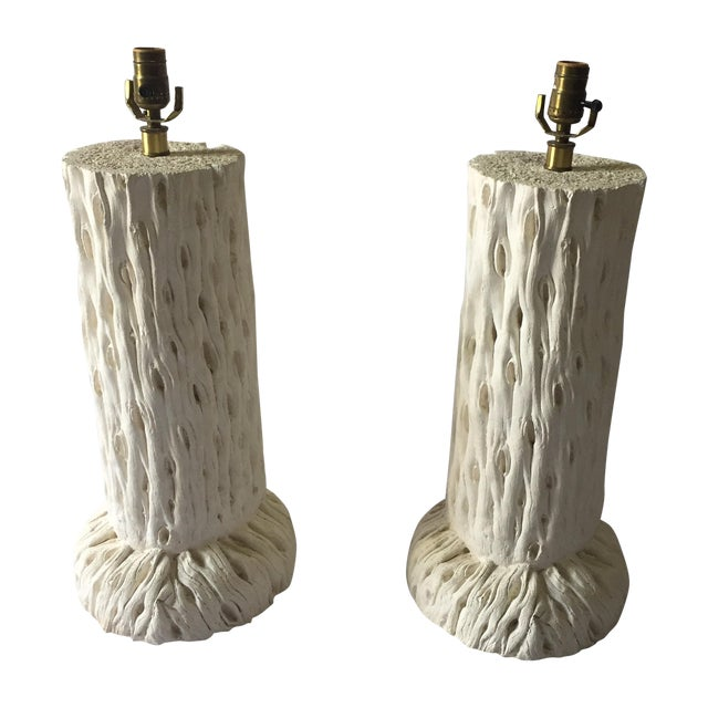 John Dickinson Style Tree Trunk Lamps - A Pair For Sale