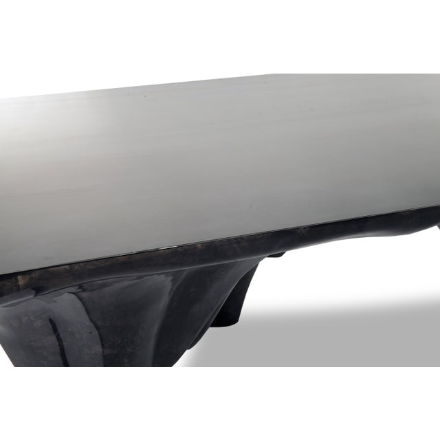 Arctic Dining Table in Charcoal Parchment & Stainless Steel For Sale - Image 4 of 8