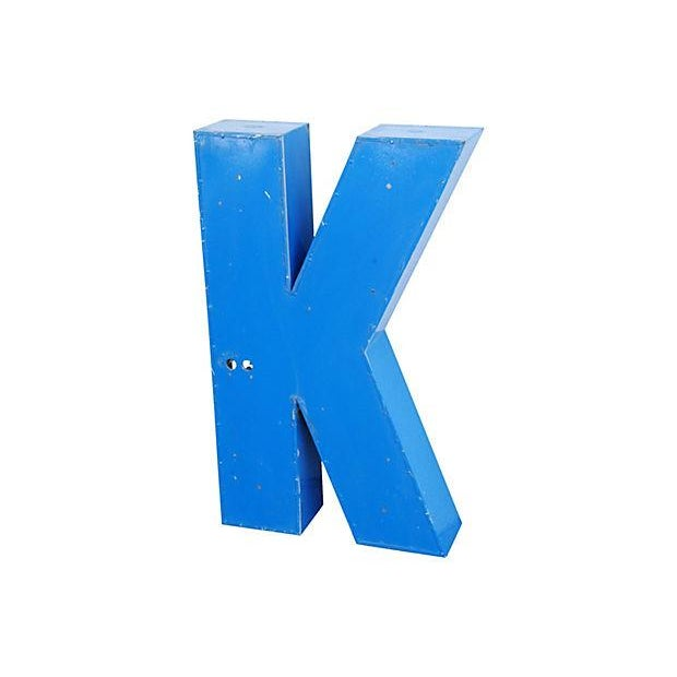 Lg. Industrial Blue & White Metal Marquee Letter K - Image 6 of 6