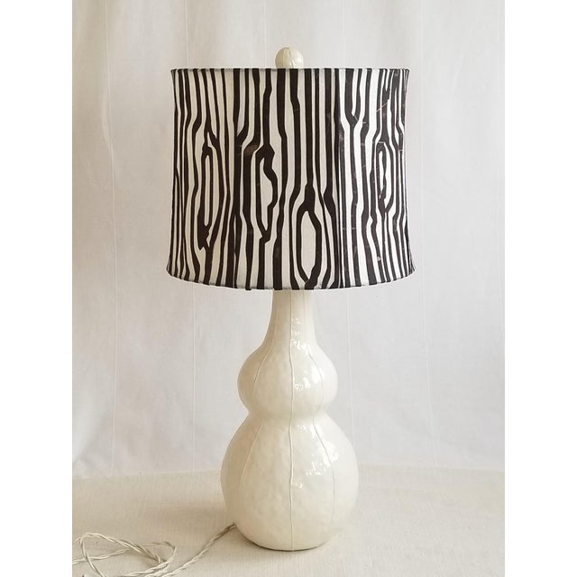 Contemporary Handmade Ceramic Lamp and Shade For Sale - Image 3 of 3