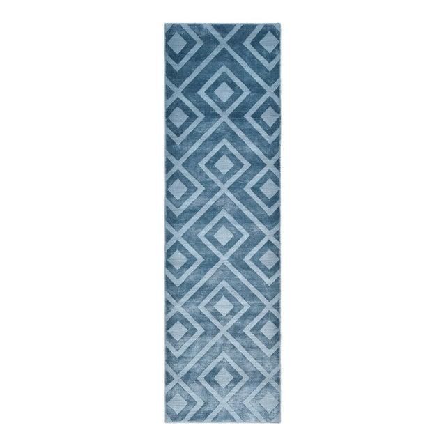 Blue Josefina, Handmade Runner Rug - 2' 6 x 10 For Sale - Image 8 of 8