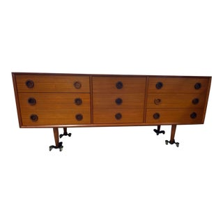 Danish Mid Century Teak 9 Drawer Dresser With Custom Wood Handles For Sale