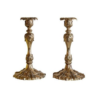 Ornate Brass Candleholders - A Pair For Sale